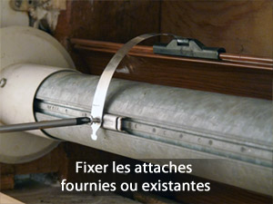 Fixer les attaches fournies ou existantes